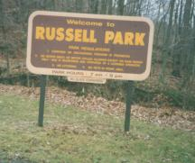 Welcoming Sign to Russell Park